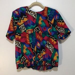 Colorful Vintage 80s Blouse